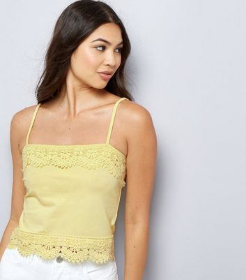 Yellow Lace Trim Cropped Cami Top
