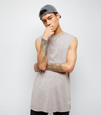 Light Grey Acid Wash Longline Vest