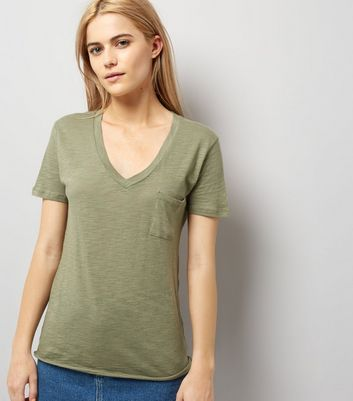 Olive Green Organic Cotton V Neck T-Shirt