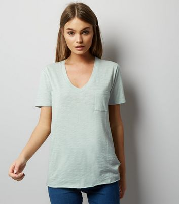 Mint Green Organic Cotton V Neck T-Shirt