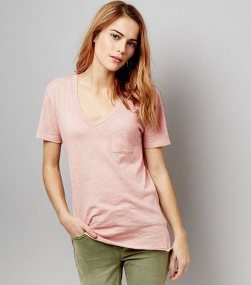 Pink Organic Cotton V Neck T-Shirt