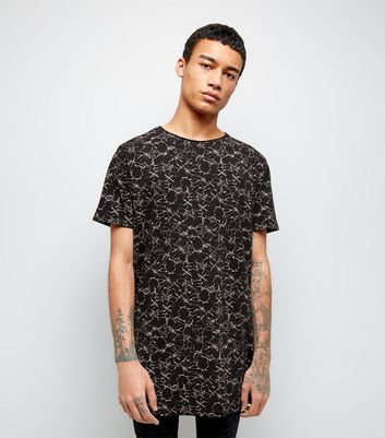 Black Crackle Print Longline T-Shirt