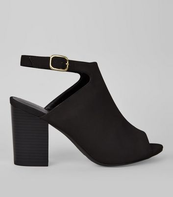 Black Suedette Peep Toe Heeled Sandals