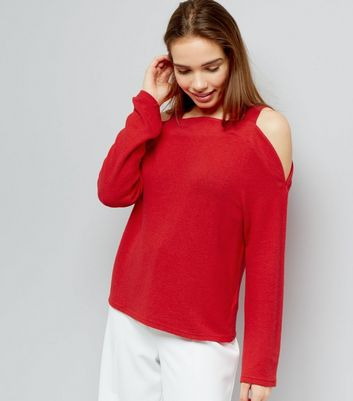 Red Brushed Cold Shoulder Jumper