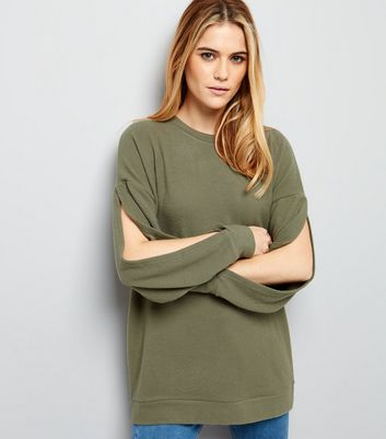 Olive Green Brushed Split Sleeve Top