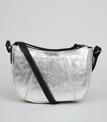 Silver Leather Cross Body Bag
