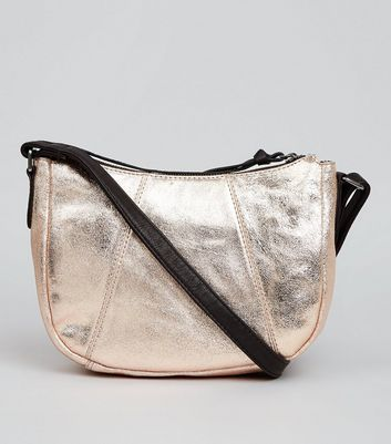 Rose Gold Metallic Leather Cross Body Bag