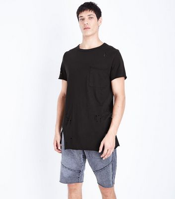 Black Distressed Pocket Front Longline T-Shirt