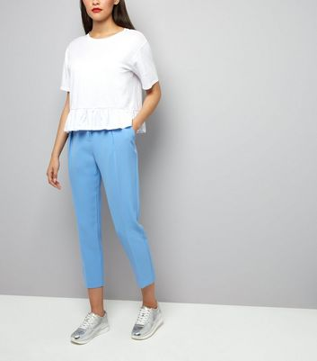 Pale Blue Pleat Front Trousers
