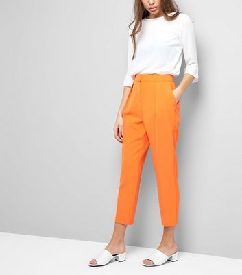Orange Pleat Front Trousers