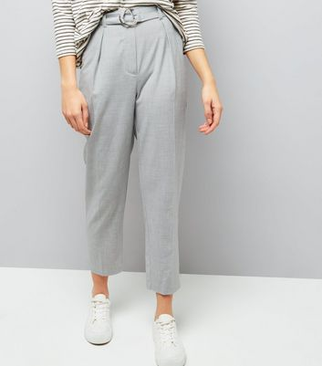 Grey Hoop Ring Belted Trousers