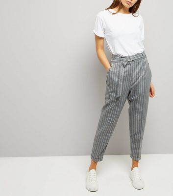 Grey Pinstripe Belted Tapered Trousers