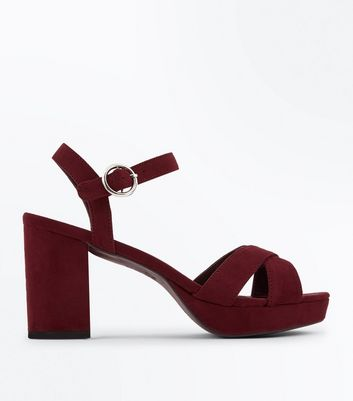 Burgundy Suedette Cross Strap Block Heels