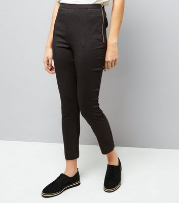 Black Pinstripe Zip Side Slim Leg Bengaline Trousers