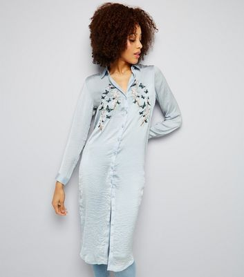 Blue Vanilla Blue Floral Embroidered Longline Shirt