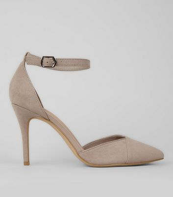 Grey Suedette Ankle Strap Pointed Heels