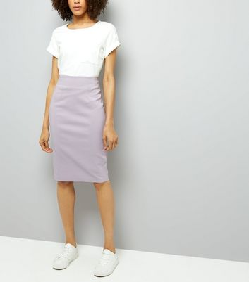 Lilac Split Side Midi Pencil Skirt