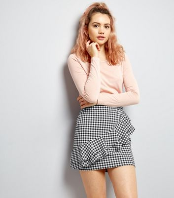 Black Gingham Check Frill Trim Skirt