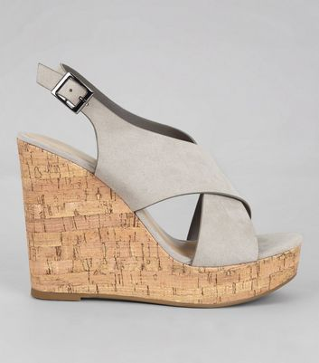 Grey Suedette Cork Wedge Heels