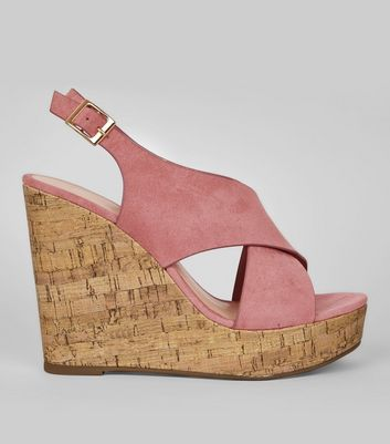 Pink Suedette Cork Wedge Heels