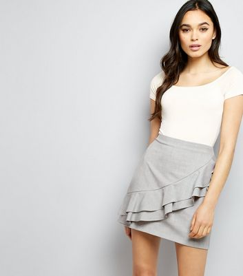 Grey Frill Trim Mini Skirt