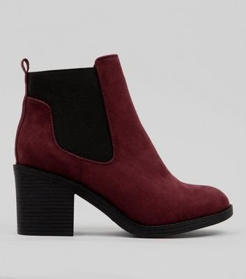 Wide Fit Burgundy Suedette Chelsea Boots