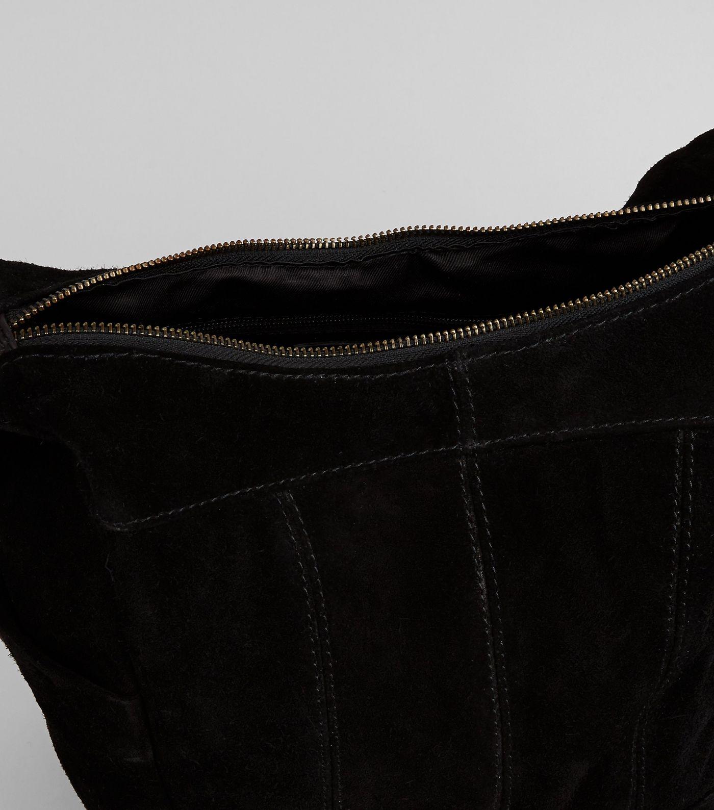 New Look Black Suede Hobo Backpack