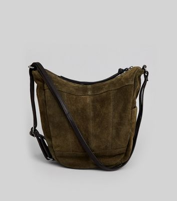 Khaki Suede Hobo Backpack