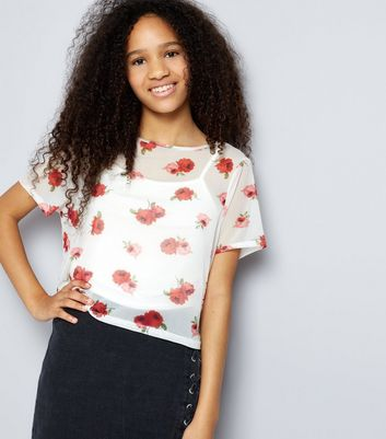 Teens White Rose Print Mesh Crop Top