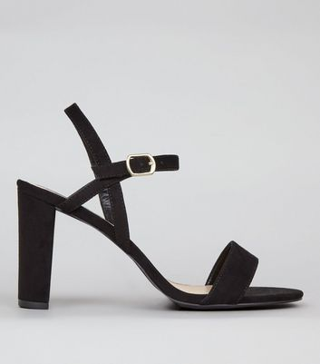 Wide Fit Black Suedette Cross Strap Side Heels