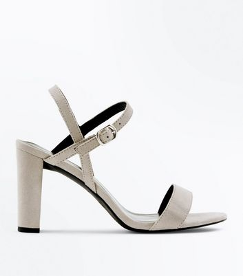 Wide Fit Grey Suedette Cross Strap Side Heels