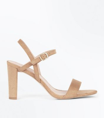 Wide Fit Mink Suedette Cross Strap Side Heels