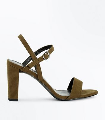Wide Fit Khaki Suedette Cross Strap Side Heels