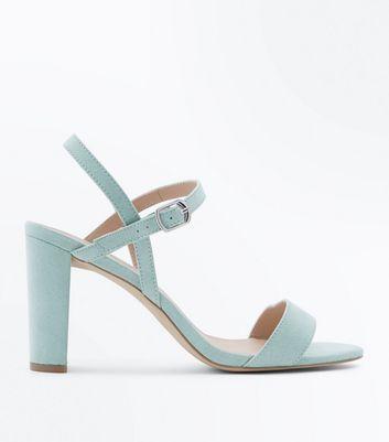 Wide Fit Green Suedette Cross Strap Side Heels by New Look
