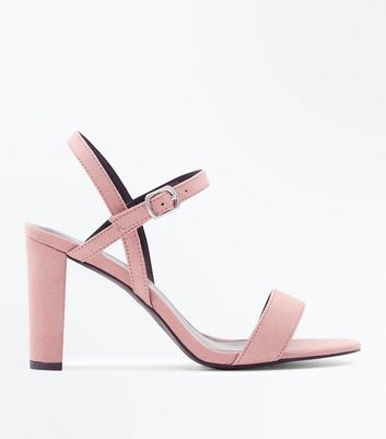 Wide Fit Pale Pink Suedette Cross Strap Side Heels