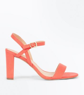 Wide Fit Coral Suedette Cross Strap Side Heels