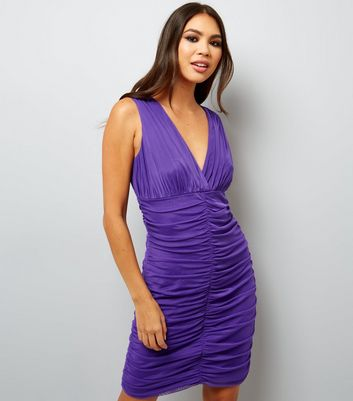 Purple V Neck Ruched Bodycon Dress