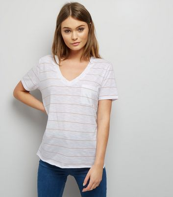 White Stripe Organic Cotton V Neck T-Shirt