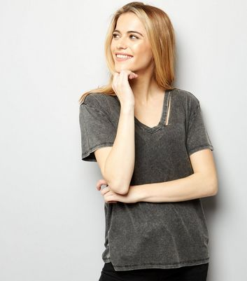Black Cut Out Trim T-Shirt
