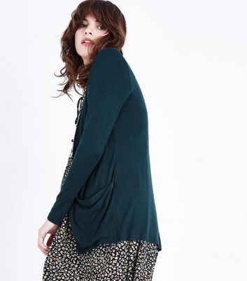 Dark Green Double Pocket Boyfriend Cardigan
