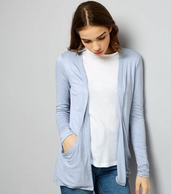 Pale Blue Double Pocket Boyfriend Cardigan