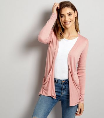 Pink Double Pocket Boyfriend Cardigan