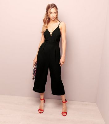 Black V Neck Cross Strap Back Jumpsuit