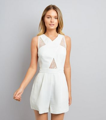 White Lace Insert Cross Front Playsuit