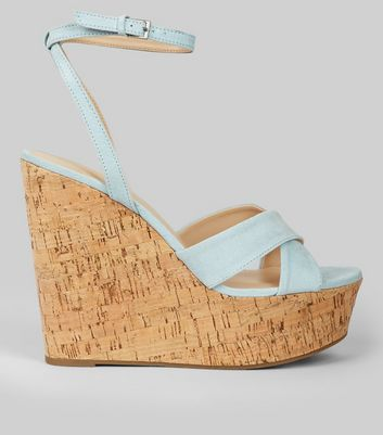 Blue Suedette Cork Wedge Heels