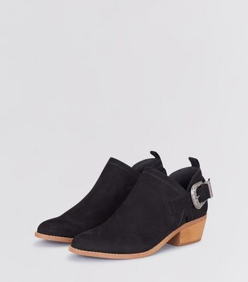 Black Suedette Buckle Side Low Heel Ankle Boots