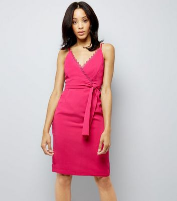 Pink Wrap Front Lace Trim Bodycon Dress