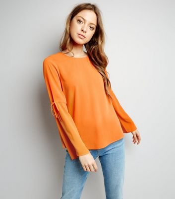 Bright Orange Tie Sleeve Top