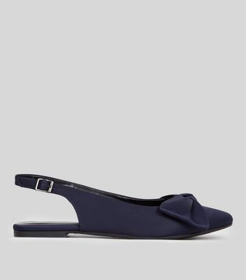 Navy Sateen Pointed Bow Front Sling Back Pumps