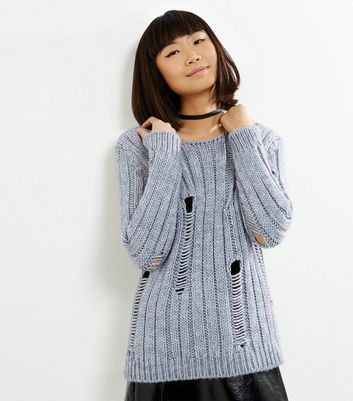 Loving This Grey Ribbed Ladder Knit Jumper